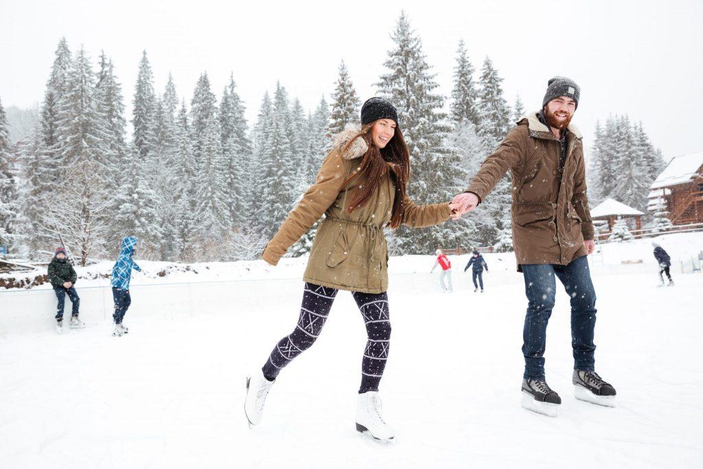 family skating in invermere