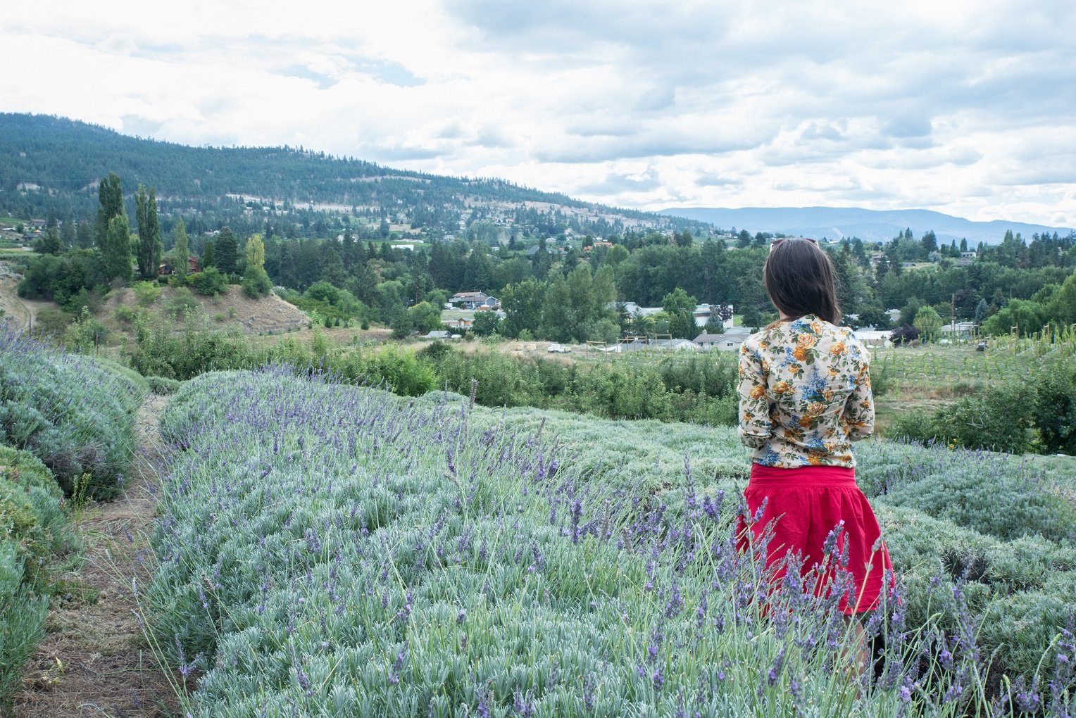girl in red skirt in lavender field travelling Kelowna on a budget