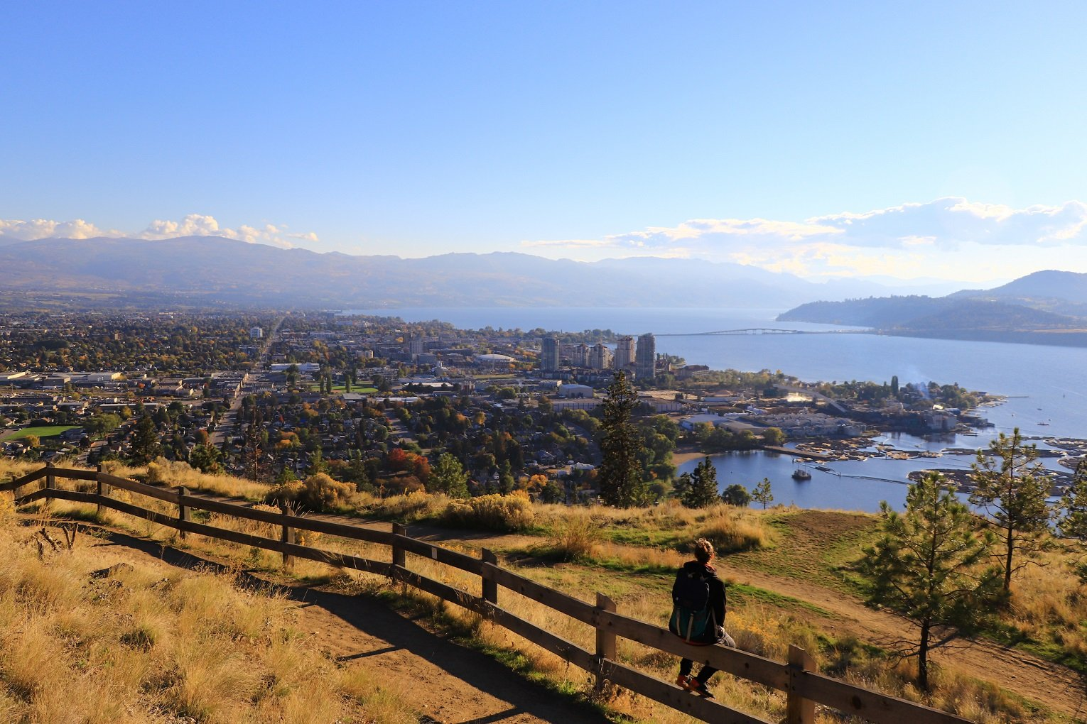 Knox Mountain Apex trail overlooking City of Kelowna travelling Kelowna on a budget